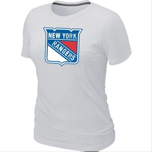New York Rangers Women's White Big & Tall Logo T-Shirt