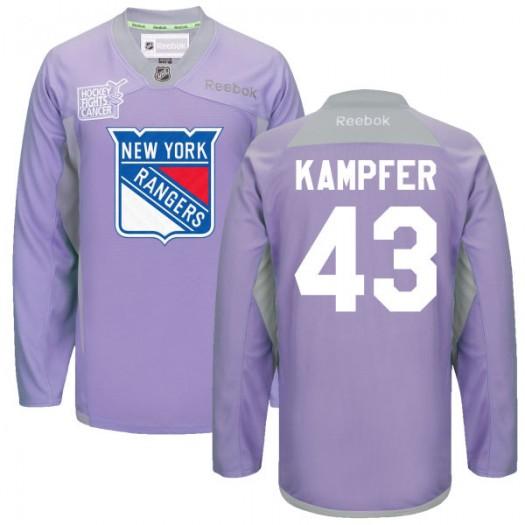 Steven Kampfer New York Rangers Men's Reebok Replica Purple 2016 Hockey Fights Cancer Practice Jersey