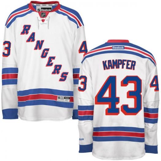 Steven Kampfer New York Rangers Men's Reebok Replica White Away Jersey