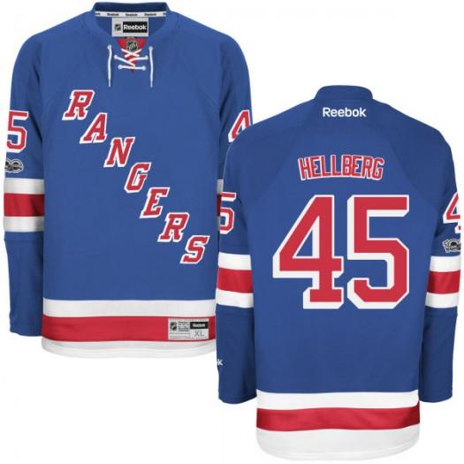 Magnus Hellberg New York Rangers Men's Reebok Replica Royal Home Centennial Patch Jersey