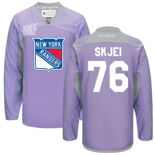 Brady Skjei New York Rangers Men's Reebok Premier Purple 2016 Hockey Fights Cancer Practice Jersey
