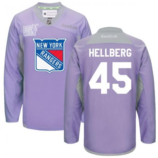 Magnus Hellberg New York Rangers Men's Reebok Premier Purple 2016 Hockey Fights Cancer Practice Jersey