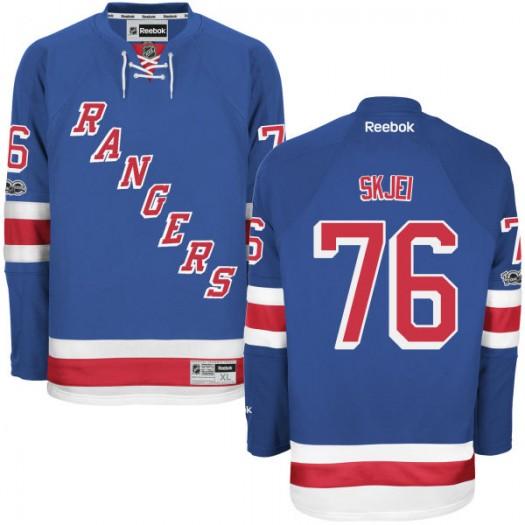 Brady Skjei New York Rangers Men's Reebok Premier Royal Home Centennial Patch Jersey