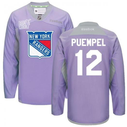 Matt Puempel New York Rangers Men's Reebok Authentic Purple 2016 Hockey Fights Cancer Practice Jersey