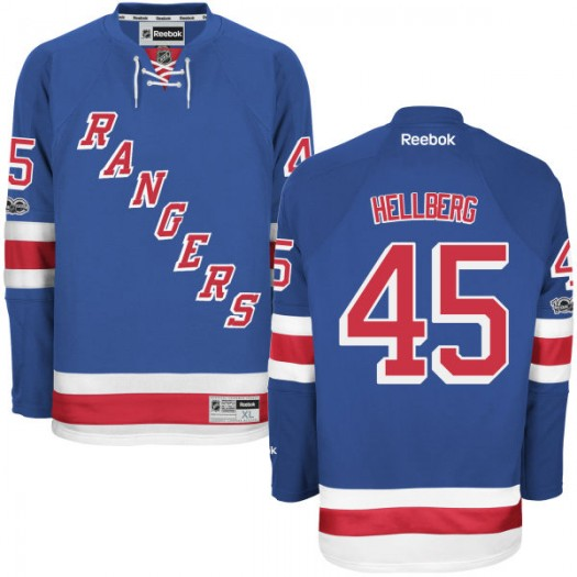 Magnus Hellberg New York Rangers Youth Reebok Replica Royal Home Centennial Patch Jersey