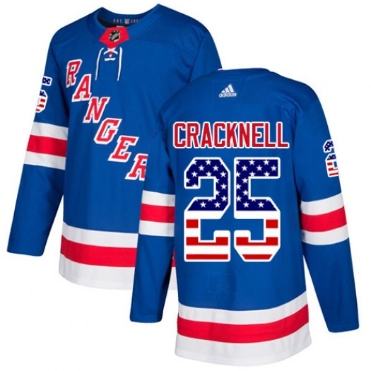 Adam Cracknell New York Rangers Youth Adidas Authentic Royal Blue USA Flag Fashion Jersey