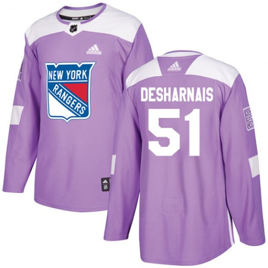 David Desharnais New York Rangers Youth Adidas Authentic Purple Fights Cancer Practice Jersey