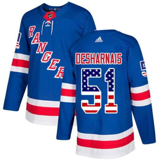 David Desharnais New York Rangers Youth Adidas Authentic Royal Blue USA Flag Fashion Jersey