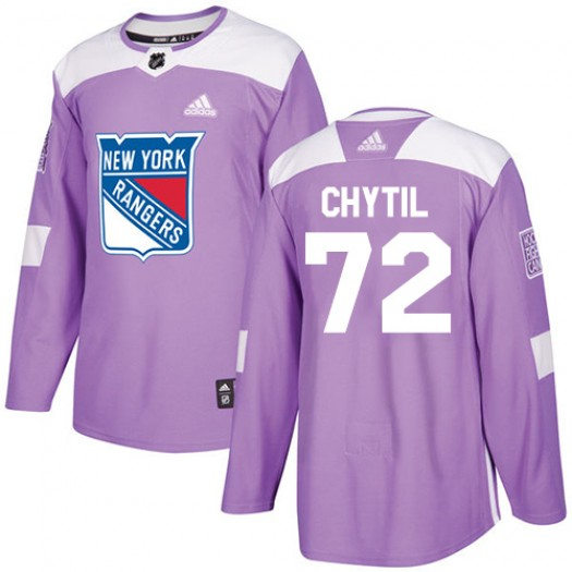 Filip Chytil New York Rangers Youth Adidas Authentic Purple Fights Cancer Practice Jersey