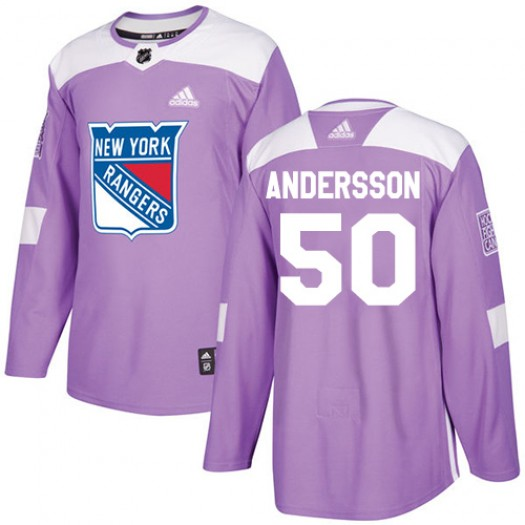 Lias Andersson New York Rangers Men's Adidas Authentic Purple Fights Cancer Practice Jersey