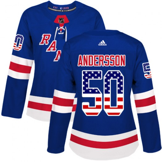 Lias Andersson New York Rangers Women's Adidas Authentic Royal Blue USA Flag Fashion Jersey