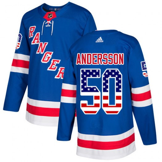 Lias Andersson New York Rangers Youth Adidas Authentic Royal Blue USA Flag Fashion Jersey