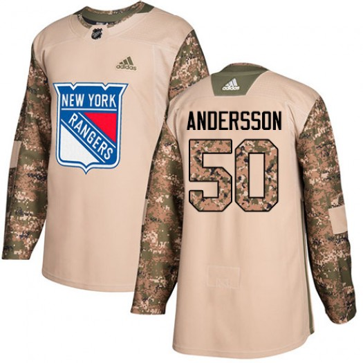 Lias Andersson New York Rangers Youth Adidas Authentic Camo Veterans Day Practice Jersey