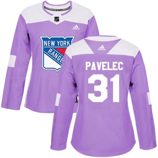 Ondrej Pavelec New York Rangers Women's Adidas Authentic Purple Fights Cancer Practice Jersey