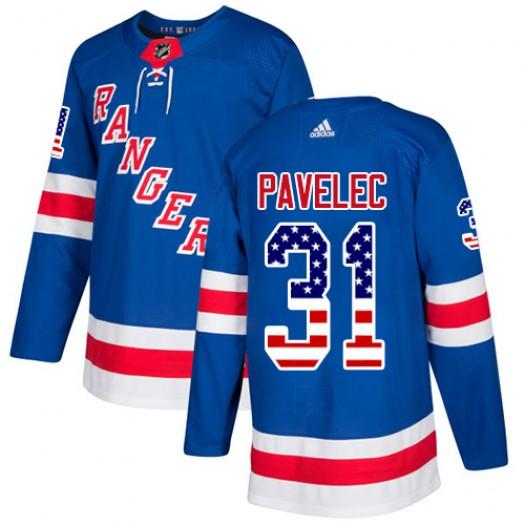 Ondrej Pavelec New York Rangers Youth Adidas Authentic Royal Blue USA Flag Fashion Jersey