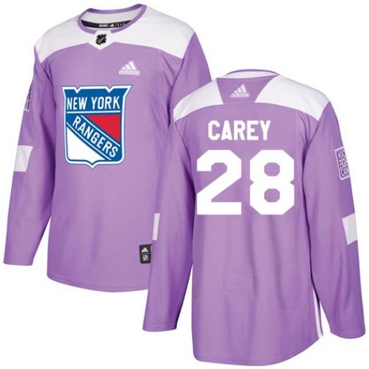 Paul Carey New York Rangers Men's Adidas Authentic Purple Fights Cancer Practice Jersey