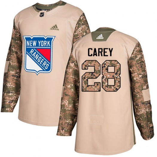 Paul Carey New York Rangers Youth Adidas Authentic Camo Veterans Day Practice Jersey