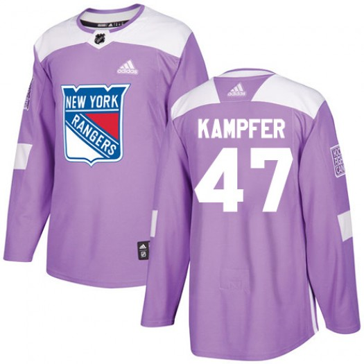 Steven Kampfer New York Rangers Youth Adidas Authentic Purple Fights Cancer Practice Jersey