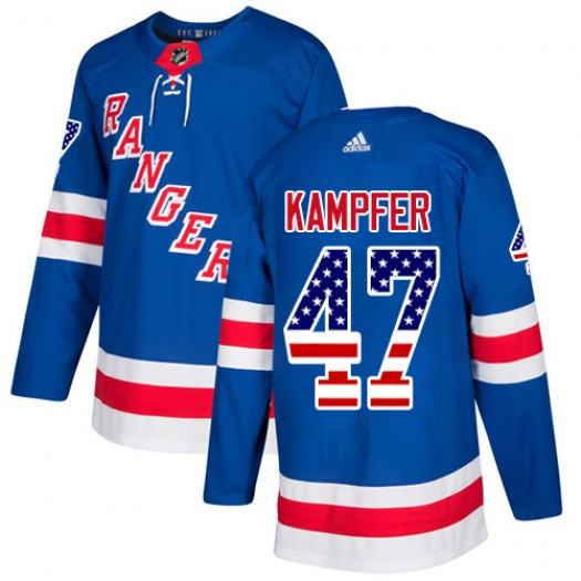 Steven Kampfer New York Rangers Youth Adidas Authentic Royal Blue USA Flag Fashion Jersey