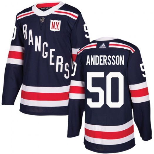 Lias Andersson New York Rangers Youth Adidas Authentic Navy Blue 2018 Winter Classic Jersey